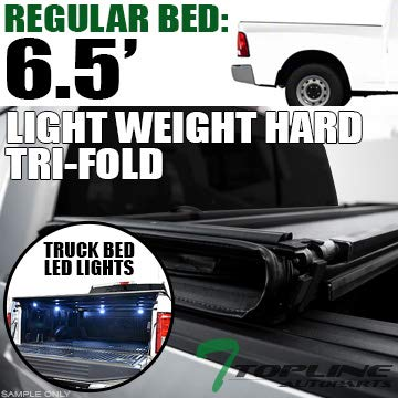 Topline Autopart Lightweight Tri Fold Hard Vinyl Tonneau Cover & Truck Bed LED Lighting System For 09-17 Dodge Ram 1500 ; 10-17 2500/3500 6.4 Feet (76.8