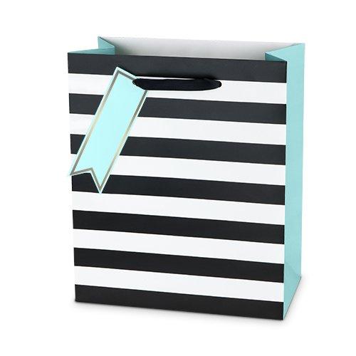 Cakewalk Stripes Paper Gift Bag, Medium, Blue/Pink/Black