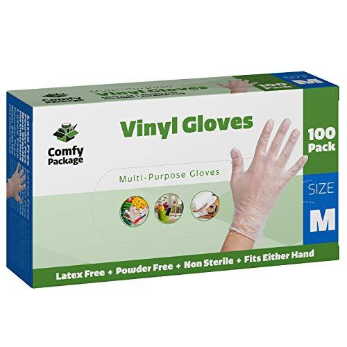 Clear Powder Free Vinyl Disposable Plastic Gloves [100 Pack] - Medium - Powder Multi Purpose