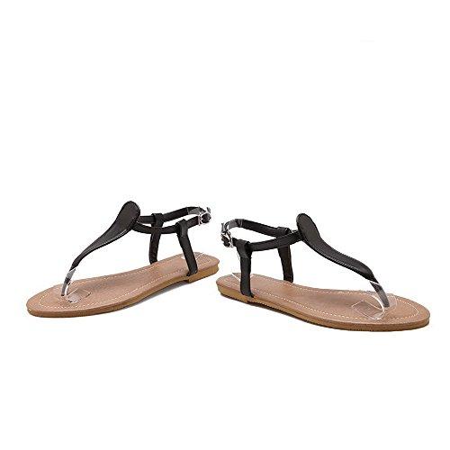 AalarDom Mujer Puntera Dividida Mini Tacón Material Suave Hebilla Sandalias de vestir Negro