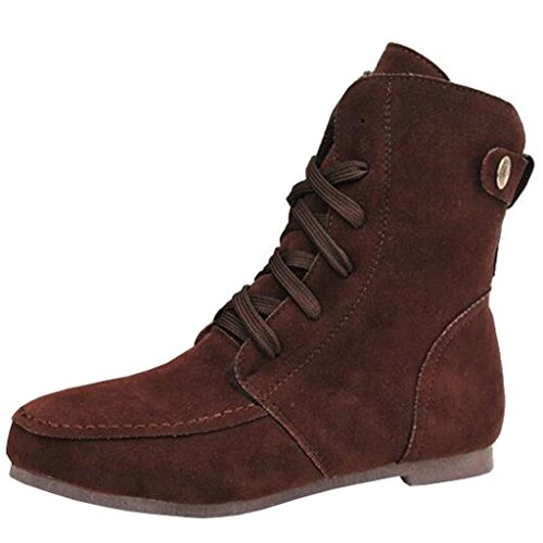 Binying Women's Buckle Round-Toe Flat Lace-up Ankle Boots Brown cpe9JrwOKS