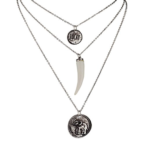 Lux Accessories Elephant Pendant Faux Ivory Tusk Lucky Charm Necklace Set