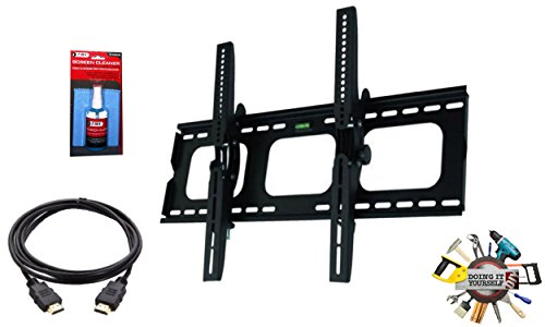 EASY MOUNT -Ultra Slim Tilt TV Wall Mount Bracket + High Speed HDMI Cable for Samsung UN55KU6290 - Low Profile 1.7' fom Wall - 12° Tilt Angle - Reduced Glare!