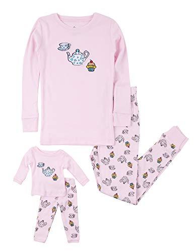 Leveret Kids Pajamas Matching Doll & Girls Pajamas 100% Cotton Pjs Set (Tea Cup,Size 10 Years)