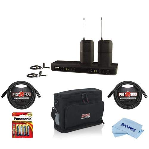 Shure BLX188/CVL Dual Lavalier System, Includes BLX1 Transmitter, BLX88 Receiver, CVL Lavalier Mic, Clip, Windscreen, J10: 584-608MHz - Bundle With Gator Carry Bag, 2x 10' 8mm XLR Mic Cable, And More by Shure