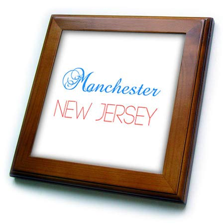 (3dRose Alexis Design - American Cities New Jersey - Manchester, New Jersey, red, Blue Text. Patriotic Home Town Design - 8x8 Framed Tile (ft_300855_1) )