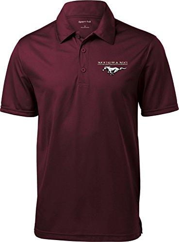 Mens Ford Polo Mustang Pocket Print Textured Polo Shirt, Maroon, 4XL