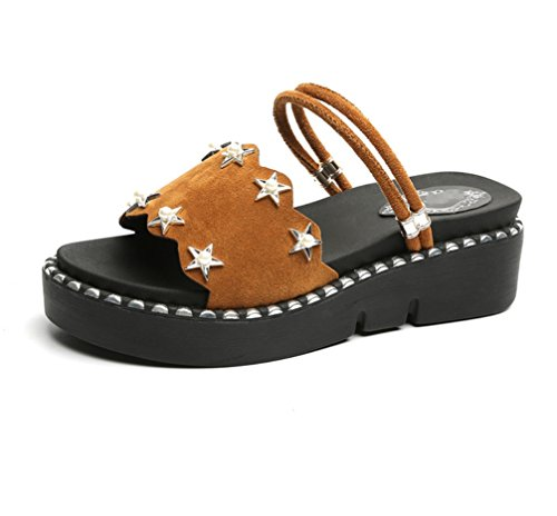 Zhhzz Zapatillas Stars Marrón Two Cien Big New Cool Summer Pearl Thick Bottom Liangxie Leisure Five Code Shoes Redonda Cabeza Student Lady Wear 1XFqnWnRz
