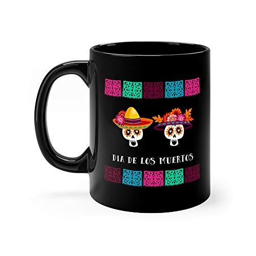 Dia De Los Muertos Day Of The Dead Or Halloween Greeting Invitation Party Decoration With Sugar Skulls And Handmade Cut Fla Tea Mugs Ceramic 11 Oz Cups