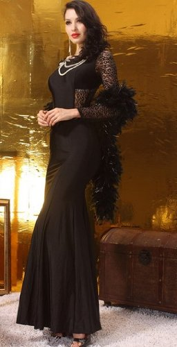 Queen's Park Black Long-sleeved Dress (Black, M Bust: 78-89 cm waist: 60-69 cm)