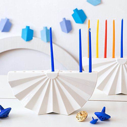 Handmade Hanukkah Menorah. Origami Inspired Modern White Ceramic Chanukiah. Contemporary Judaica Made in Israel. Bar or Bat Mitzva Gift, Judaica art for Wedding (Menorah Bar)
