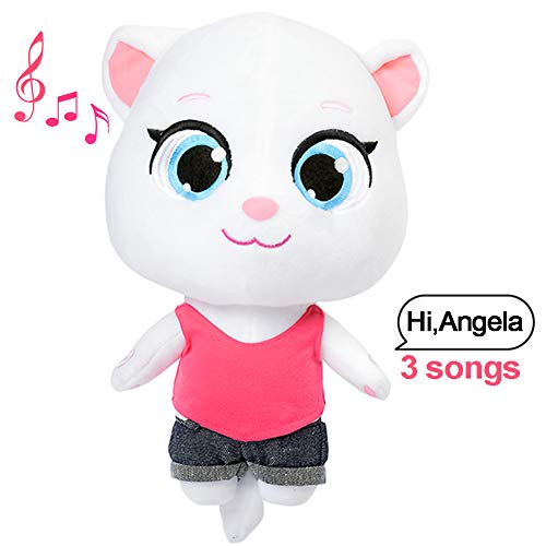 Talking Tom Cat Plush Toy Angela Repeats What You Say Electronic Cat Plush for Boys Girls Baby Gift Cat Toys for Kids Angela Sounds from APP Talk Back Plush Toy (Talking Angela, 11.8