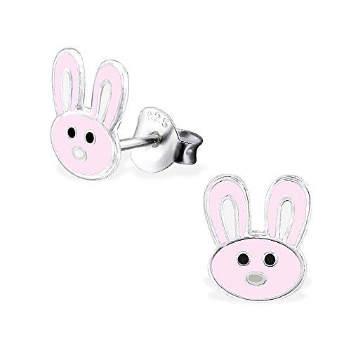 925 Sterling Silver Pink Bunny Rabbit Stud Earrings 26485