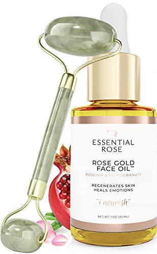 Jade Face Roller Set with Rose Gold Face Oil | 2 Piece | Moisturizing, Anti-Oxidant, Anti-Aging Jojoba & Rosehip Oils…