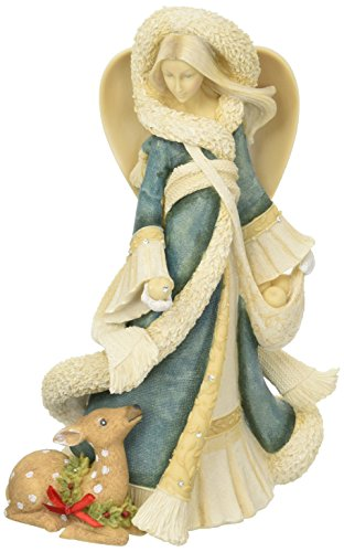 """Foundations Deluxe Angel with Fawn Stone Resin Figurine, 9.5"""""""