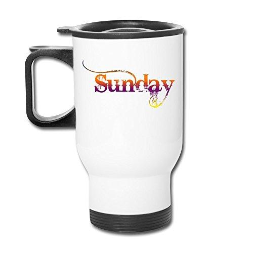 Sunday Happy Day Aluminum White Travel Mug, 12 ()