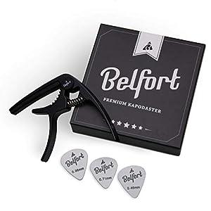 BELFORT® Original QuickPitch Kapodaster für Gitarre + 3 Plektren + Gratis eBook ☆ Kinderleichte Bedienung ☆ Capo für…