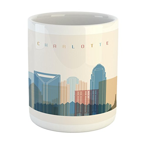 Lunarable North Carolina Mug, Charlotte Downtown Skyscrapers Urban Area Digital Global City United States, Printed Ceramic Coffee Mug Water Tea Drinks Cup, Multicolor