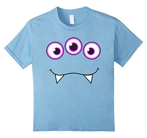 Supernatural Monster Costumes (Kids Monster Face Halloween T-Shirt - Cute Monster Costume 4 Baby Blue)