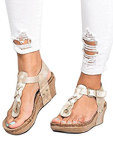 Ru Sweet Women's Boho Braided Wedge Sandals Ankle Buckle Casual T-Strap Wedge Heel Sandal Shoes