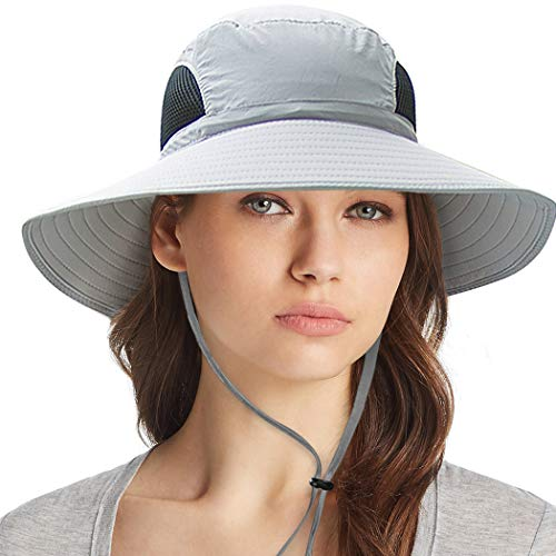 Waterproof Sun Hat Outdoor UV Protection Bucket Mesh Boonie Hat Adjustable Fishing Cap Grey