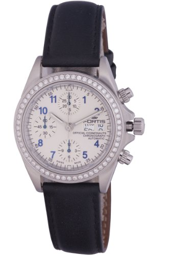 Fortis Women's 630.14.92 LC.01 Official Cosmonaut Chronograph Swiss Automatic Silver Dial Chronograph Tachymeter  Diamond Watch