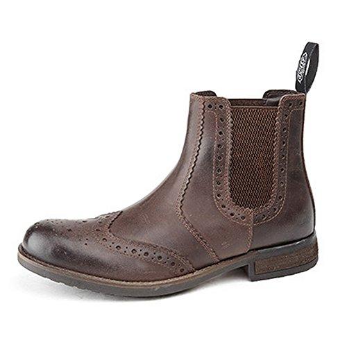 Roamers - Botas a los tobillos de piel suave con elásticos a los laterales estilo Brogue para hombre Negro