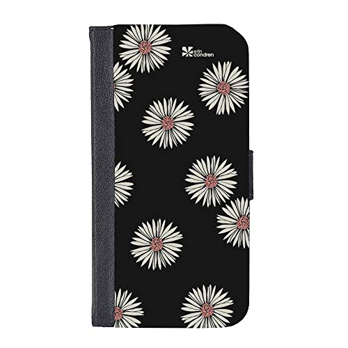 (Erin Condren Apple iPhone 7 / iPhone 7s Ultra-Slim Foldable Phone Case Wallet, Magnetic Clasp, Premium Faux Leather Suede, Daisies - Black, White, Rose Pink)