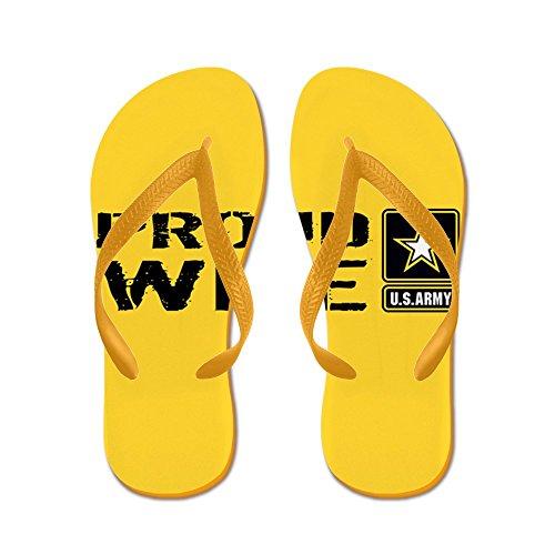 Esercito Ci Esercito: Orgogliosa Moglie (oro) - Infradito, Divertenti Sandali Infradito, Sandali Da Spiaggia Arancione