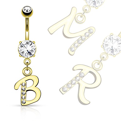 TheCheshireCat (1 Piece) Gold Plated Letter Initial Dangle Belly Ring 14g (R) (Ring Belly Dangle Initial)