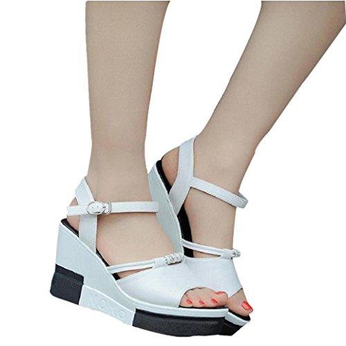 Elevin (tm) Kvinnor Sommarens Mode Peep Toe Hög Plattform Kilar Pumpar Flip Flops Skor Vita
