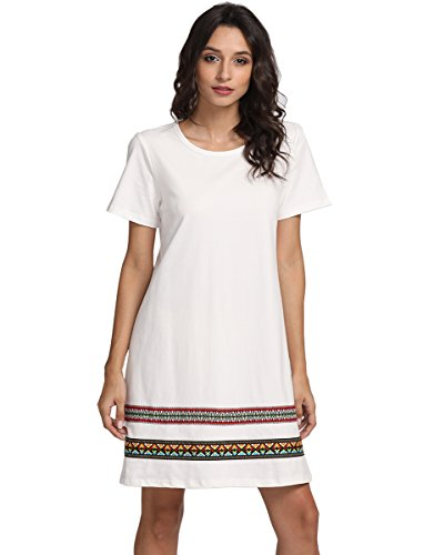 Romwe Womens Loose Short Sleeve Shirt Casual Tunic Dress Swing T Shirt Dress White L