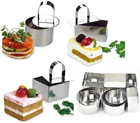 NewlineNY Stainless Steel 12 Pcs Set Dessert Rings: 4 Covers & 8 Rings (4 Round, 2 Square, 2 Rectangular) Molding Plating Forming Cake Mousse Dessert Rings by NewlineNY