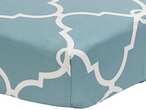 Pinzon-300-Thread-Count-Percale-Fitted-Crib-Sheet-Lattice-Spa-Blue