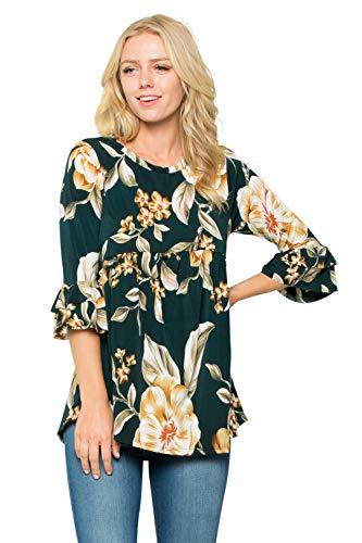 Junky Closet Women's 3/4 Sleeve Babydoll Stretch T Shirt Blouse Top (Large, OJBJ 2985 Olive - Sleeve 3/4 Animal