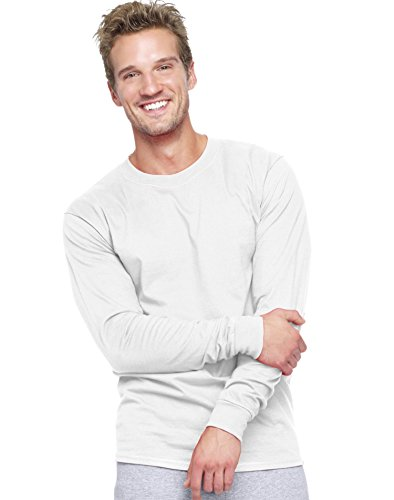 Hanes Men`s Adult Beefy-T Long-Sleeve T-Shirt,Large,White