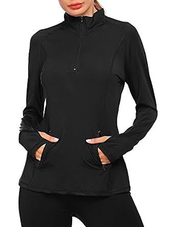 Zeagoo Women's Workout Tee Long Sleeve Running Gym Sports T-Shirt Fast Dry (Black, M)