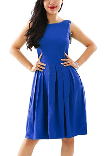 YMING Women's Vintage Sleeveless Classy Party Cocktail Swing Tea Dress,Blue,XS