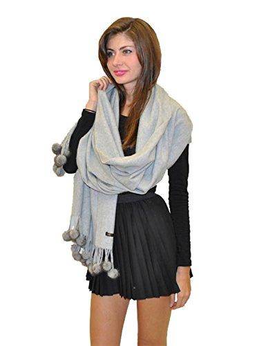 Cashmere scarf/Cashmere shawl with Mink Pom-Pom balls -Cashmere Pashmina Group (Silver Grey) by Cashmere Pashmina Group