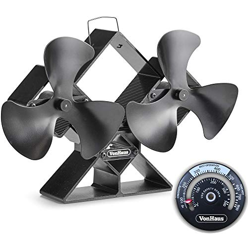 VonHaus 6-Blade Twin Motor Double Heat Powered Wood Stove Fan with Temperature Gauge - Ultra Quiet Fireplace Wood Burning Eco Fan for Efficient Heat Distribution – Black (6 Blade) by VonHaus