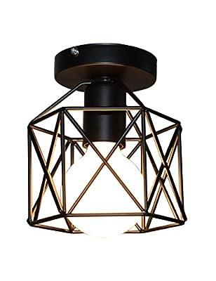Industrial Vintage Style Ceiling Light, Lumans Edison Hanging Caged Pendant Light Fixture (Black 001)