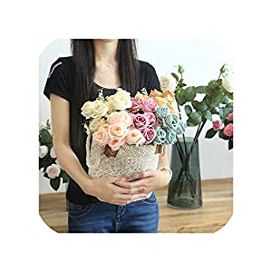 6 Heads Artificial Rose Simulation Silk Fake Flower Wall Lifelike Roses Home Wedding Bouquets DIY Flower Accessories 16