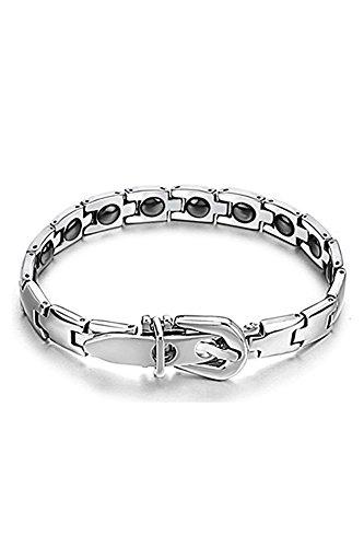 SODIAL(R) precieux magnetique Bracelet en titane pour femmes d'argent