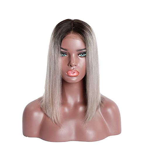 Ms Lula Ombre Short Bob Lace Front Wig Pre-Picked With Baby Hair Straight Human Frontal Wigs Nature Color,Ombre,6Inches,130%