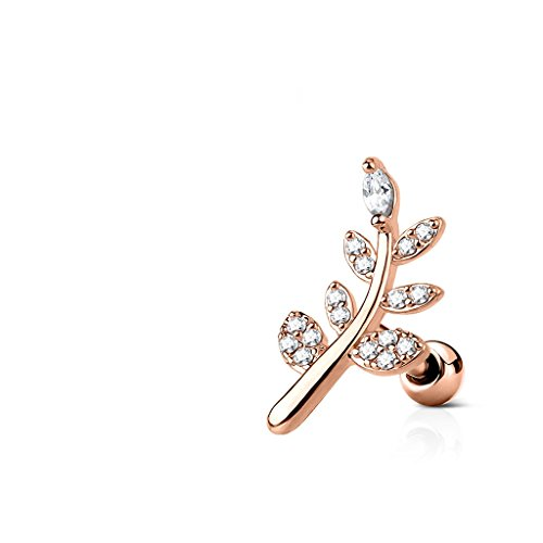 CZ Micro Paved Leaf Top 316L Surgical Steel WildKlass Cartilage, Tragus Barbell Studs (Rose Gold/Clear) (Top 316l Steel Surgical)