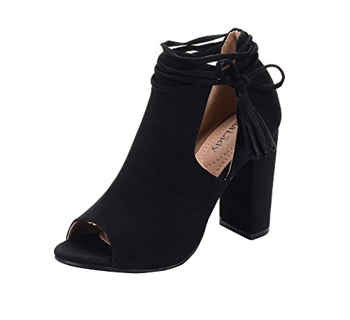 omen's Stacked Chunky Heel Platform Tasseled Ankle Boot Peep Toe Bootie,BLACK8.5 ()