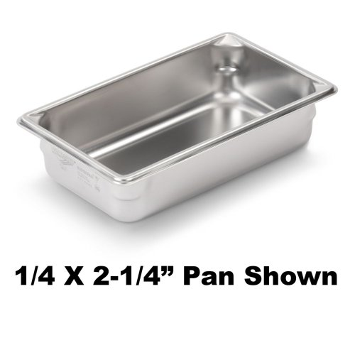 Vollrath (30442) Super Pan V Food Pan (1/4-Size, 4-Inch Deep, Stainless Steel, ()