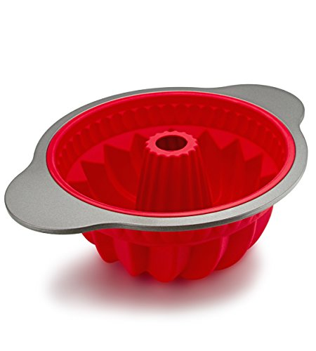 Silicone Bundt Pan by Boxiki Kitchen | Professional Non-Stick Pound Mold For Baking Bundt Cake, Pound Cake, Bread | FDA Approved Silicone w/Heavy Grade Steel Frame and Handles