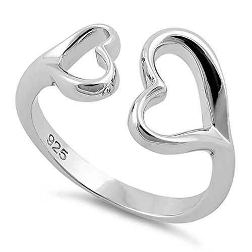 Double Heart Ring (Sterling Silver Double Heart Love Ring (7))