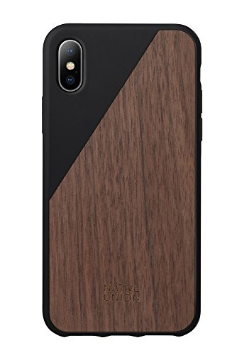 Native Union CLIC Wooden Case - Handcrafted Real Walnut Wood Drop-Proof Slim Cover with Screen Bumper Protection for iPhone X (Black)